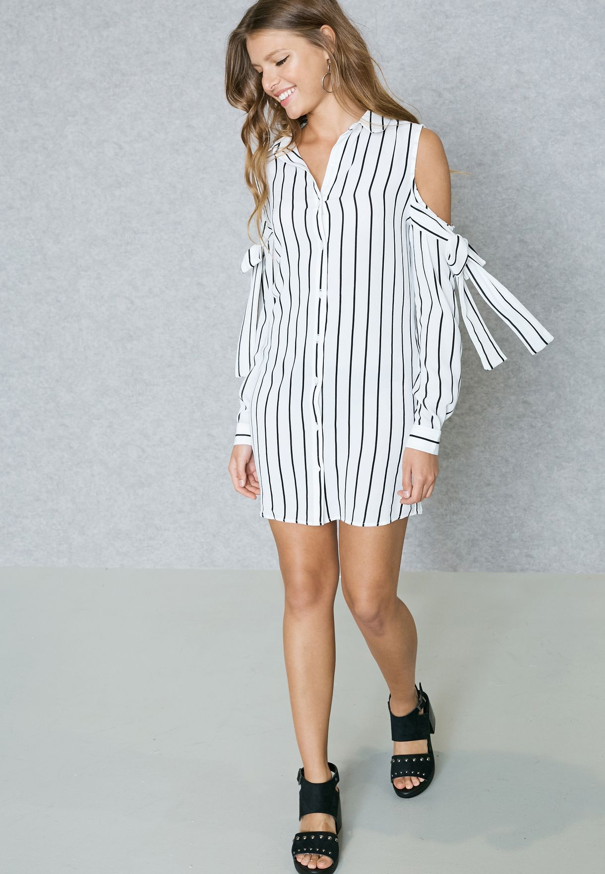 51229ab03b Shop Missguided white Striped Cold Shoulder Shirt Dress DD909781 for ...