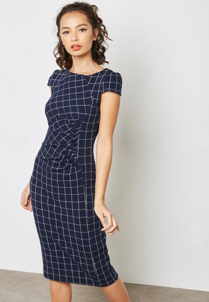 Checked Ruched Bardot Dress