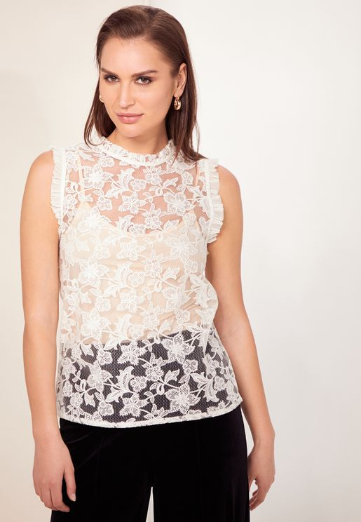 Marina Ruffle Detail Lace Top