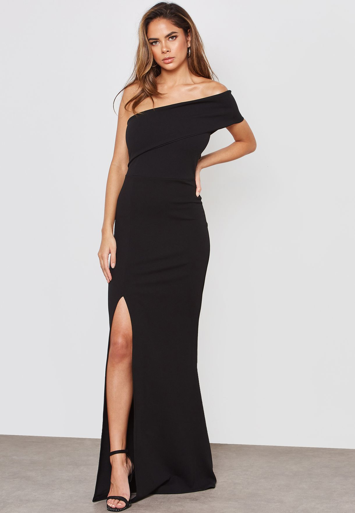 c047b92787 Shop Missguided black One Shoulder Maxi Dress wsde923524 for Women ...