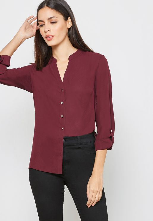 Side Pocket Roll Sleeves Shirt