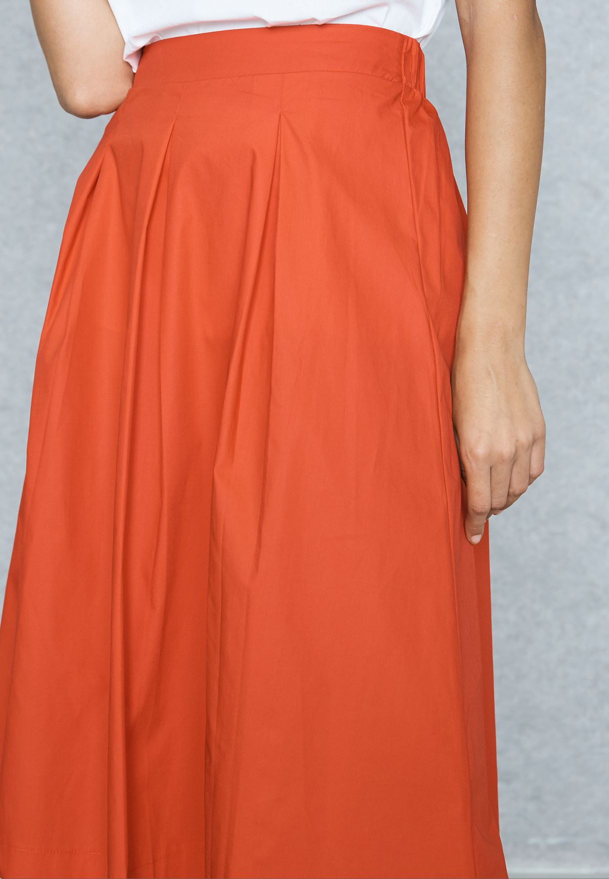 Pleated Fit & Flare Skirt
