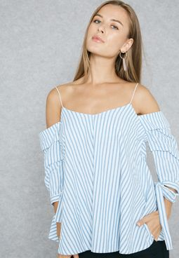 Striped Puffed Sleeved Cold Shoulder Top