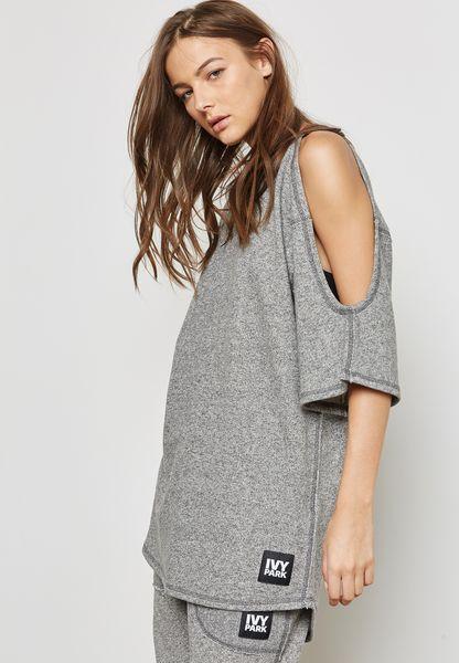 Cold Shoulder Slub T-Shirt