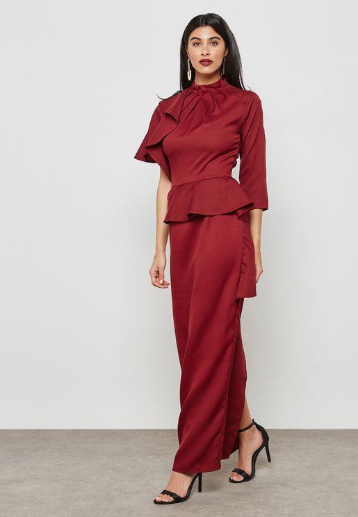 Ruffle Detail Peplum Dress
