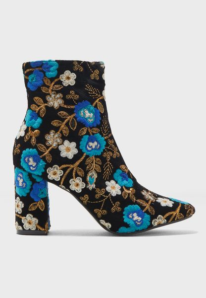 Cleo Floral Embroidered Ankle Boot