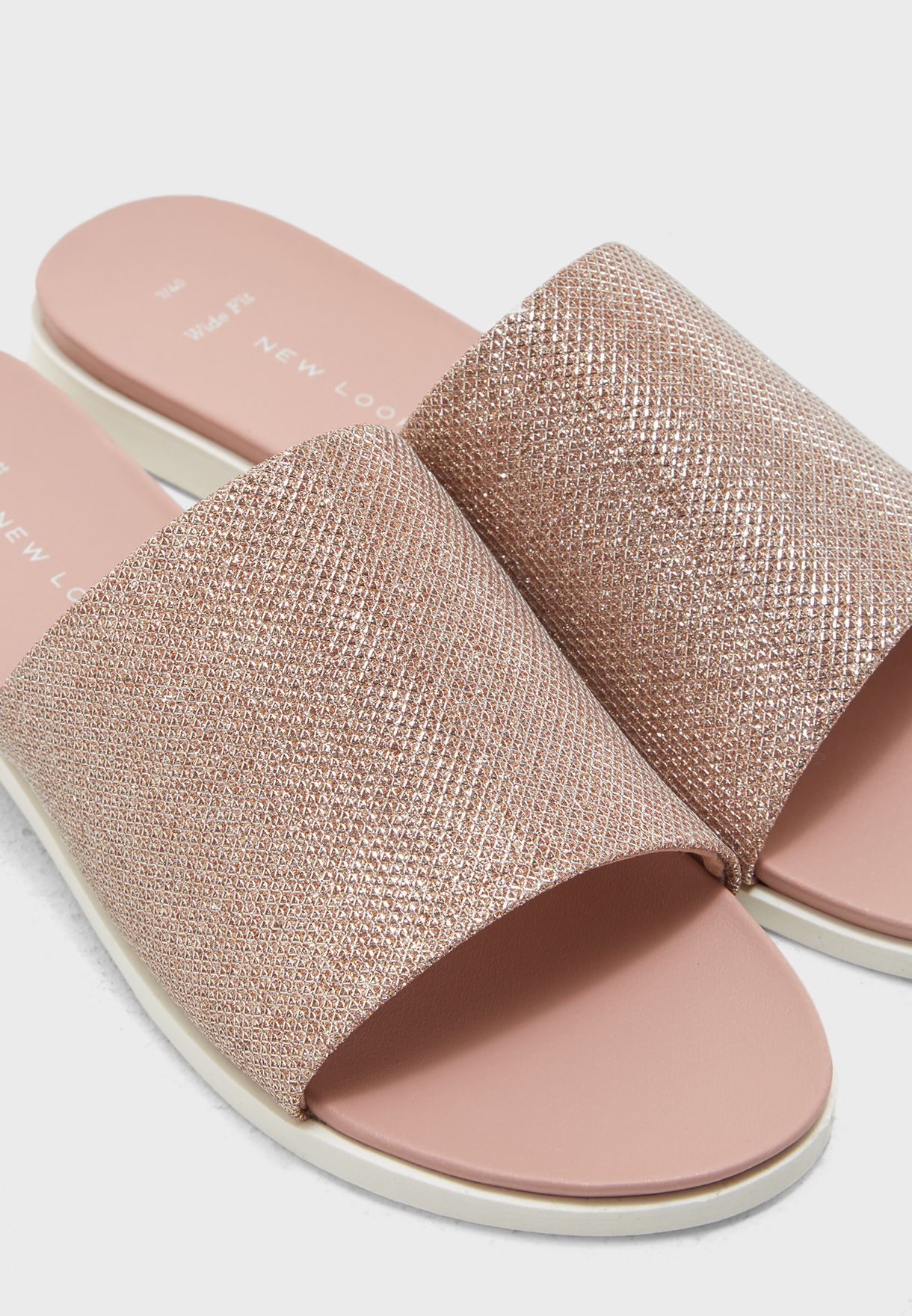 1e656f1cb77d Shop New Look pink Wide Fit Rose Gold Glitter Mules 572740294 for ...