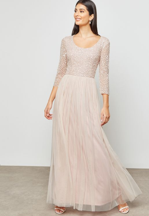 Sequin Tulle Layered Dress