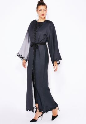 Haya's Closet Ombre Embroidered Trim Abaya