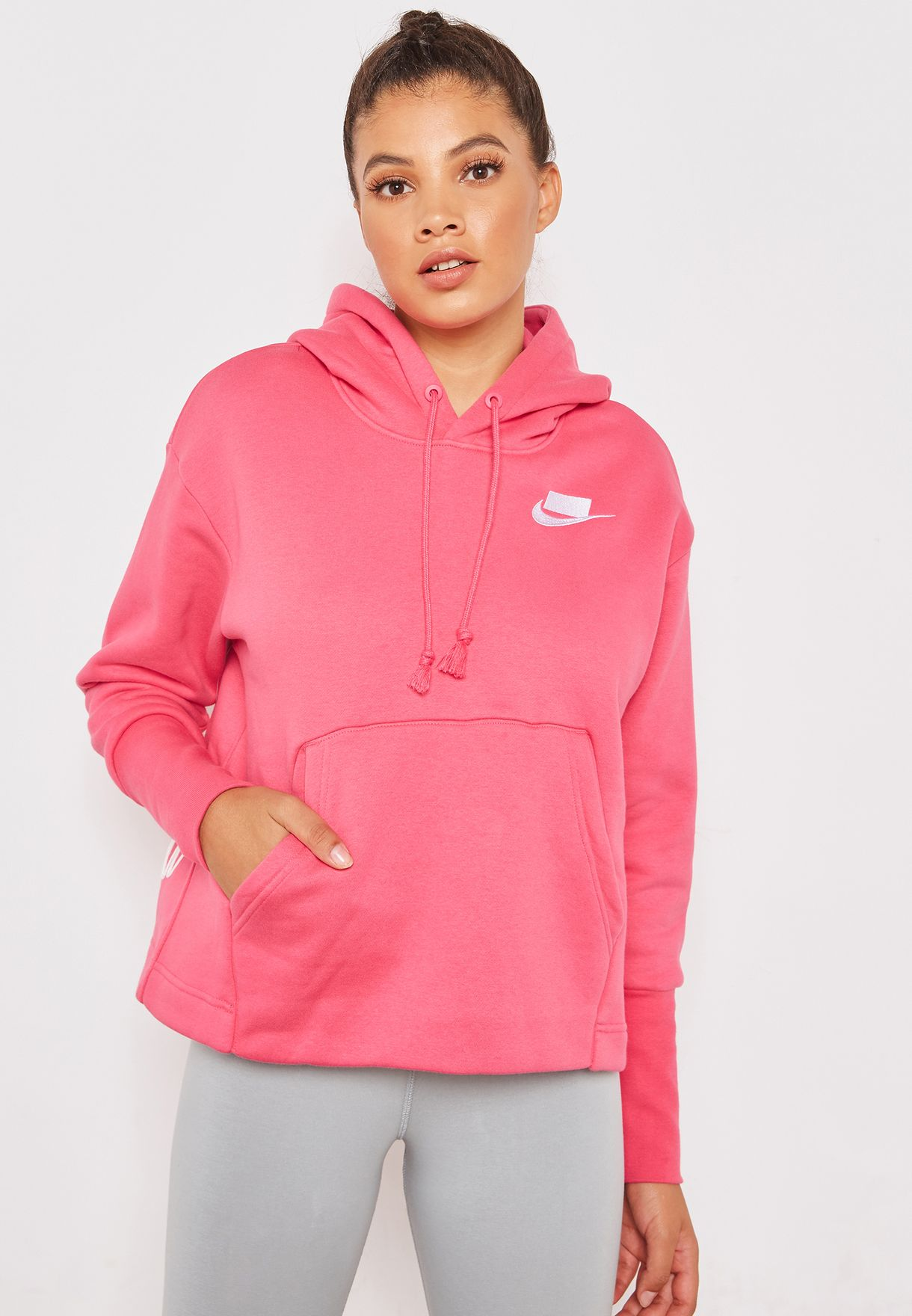 cc2f5bfc0 Shop Nike pink NSW Fleece Hoodie AH8690-674 for Women in UAE ...