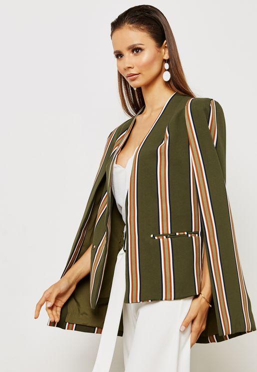 Two Tone Wide Striped Tailored Blazer