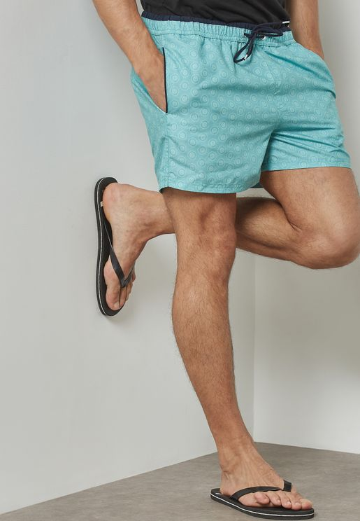Geometric Circle Printed Swim Shorts