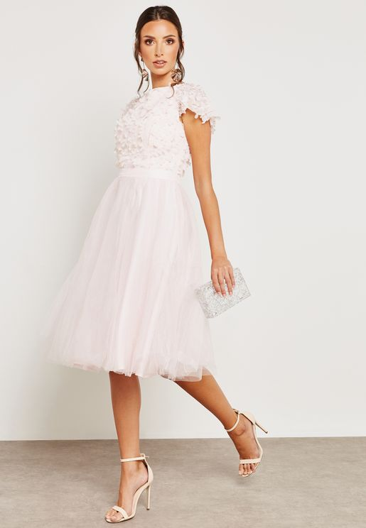 Floral Detail Tulle Dress