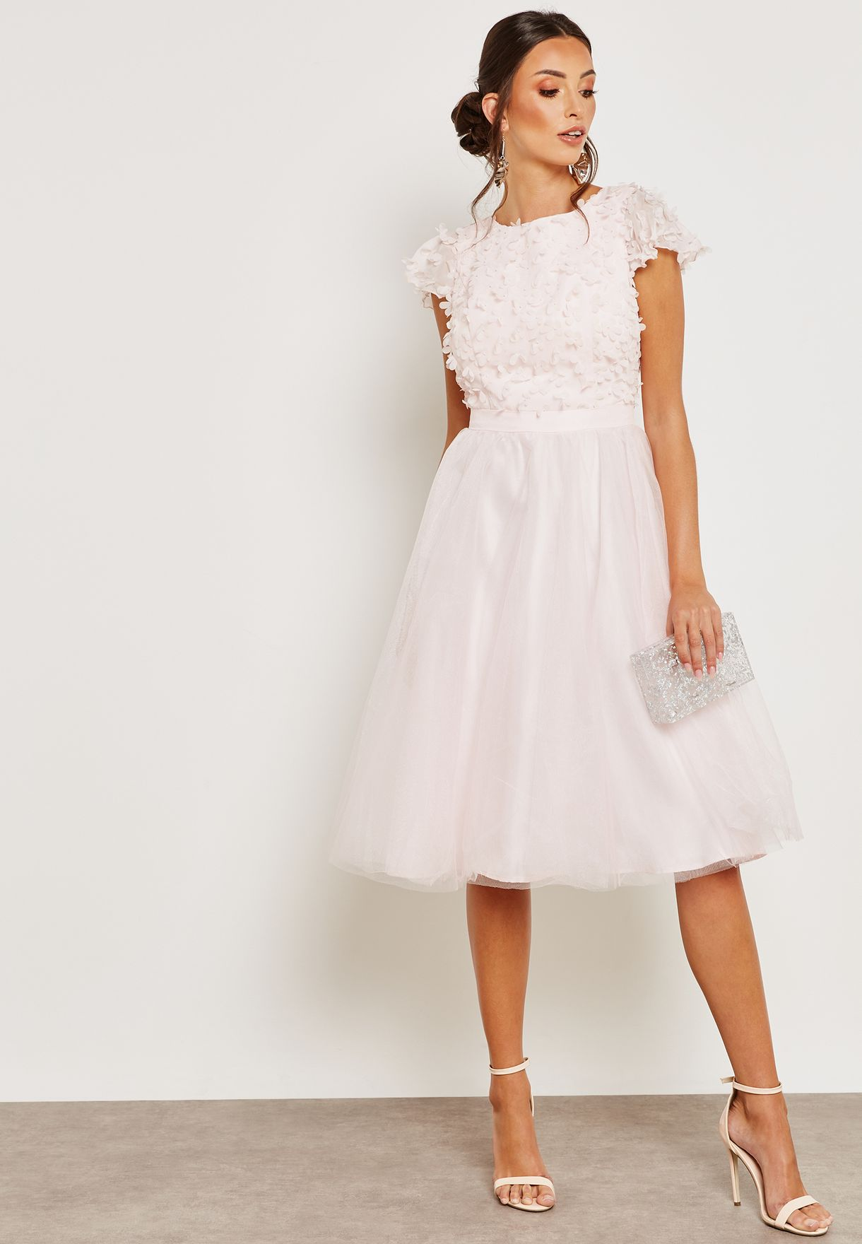 Floral Detail Tulle Dress