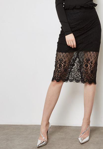 Mesh Detail Midi Skirt