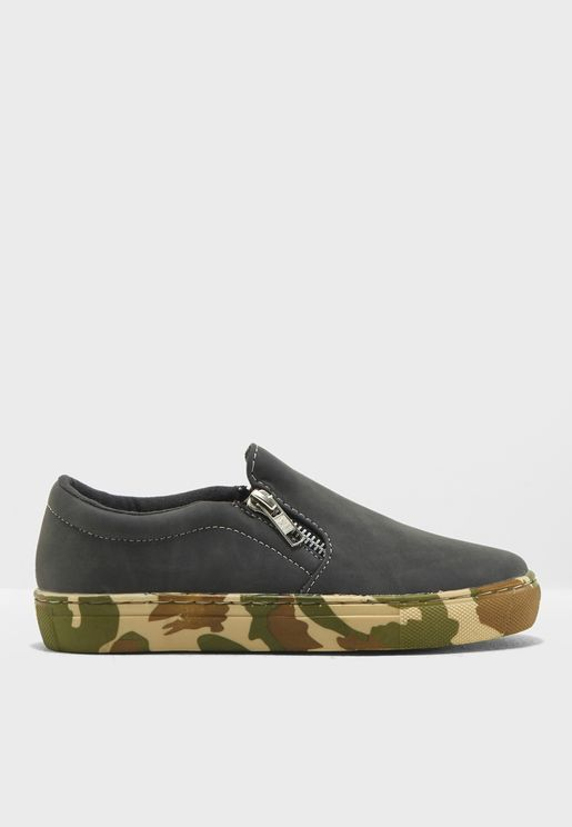 Youth Zip Detail Slip On