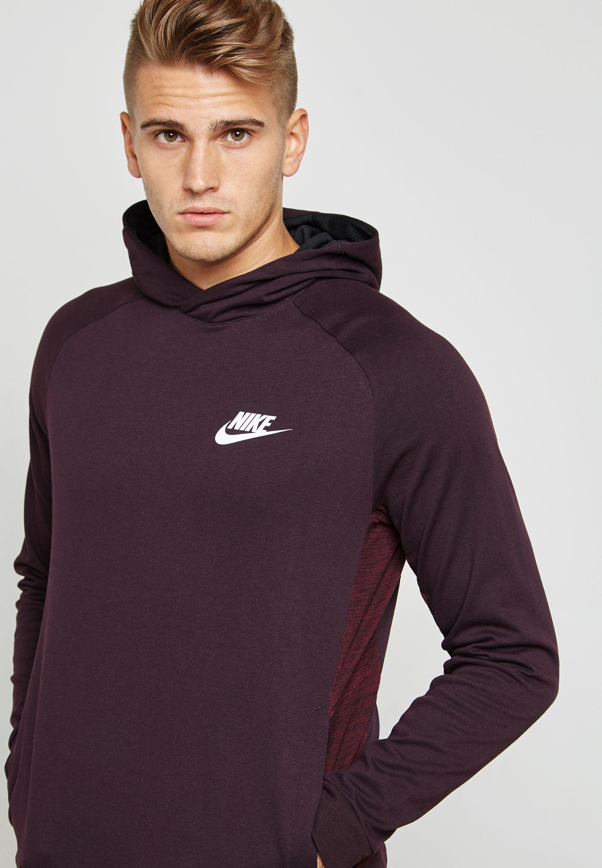 Shop Nike burgundy AV15 Fleece Hoodie 861738-652 for Men in Qatar -  NI727AT01KRE c64aed9f9623