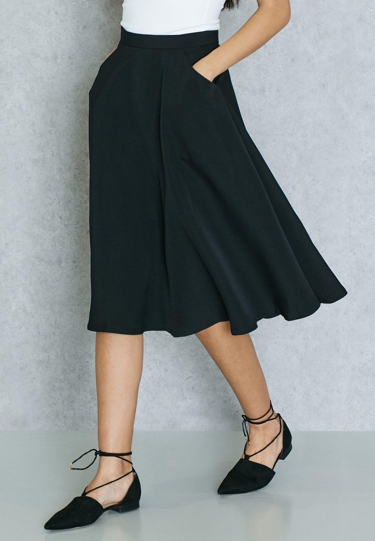 d058977b7f Shop Ginger Basics black Skater Skirt for Women in Kuwait - GI121AT01JAC