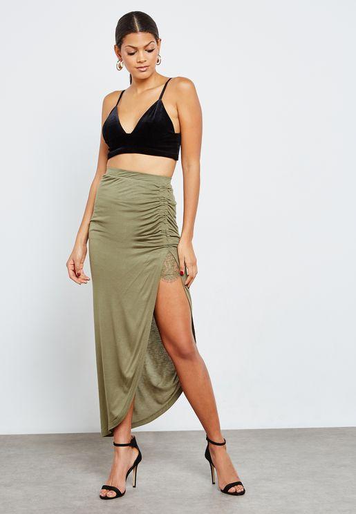 Lace Detail Slit Skirt