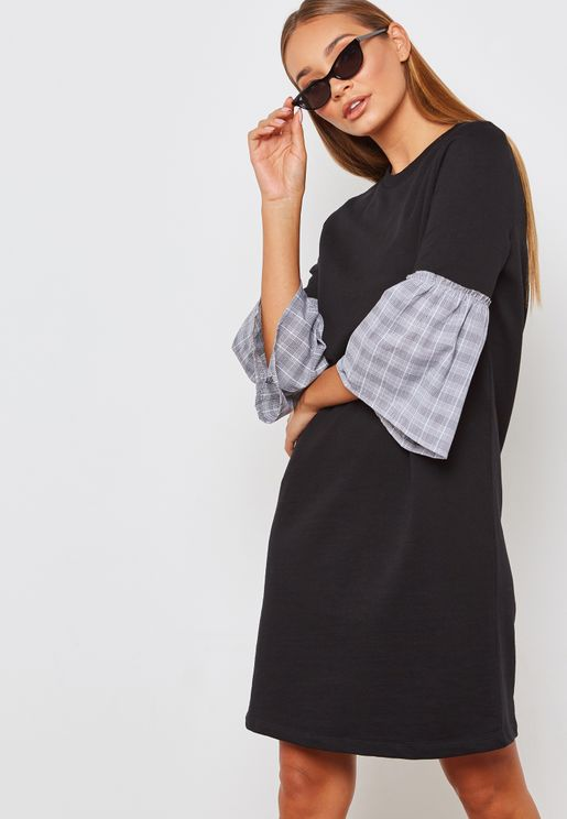 Contrast Checked Sleeve Dress