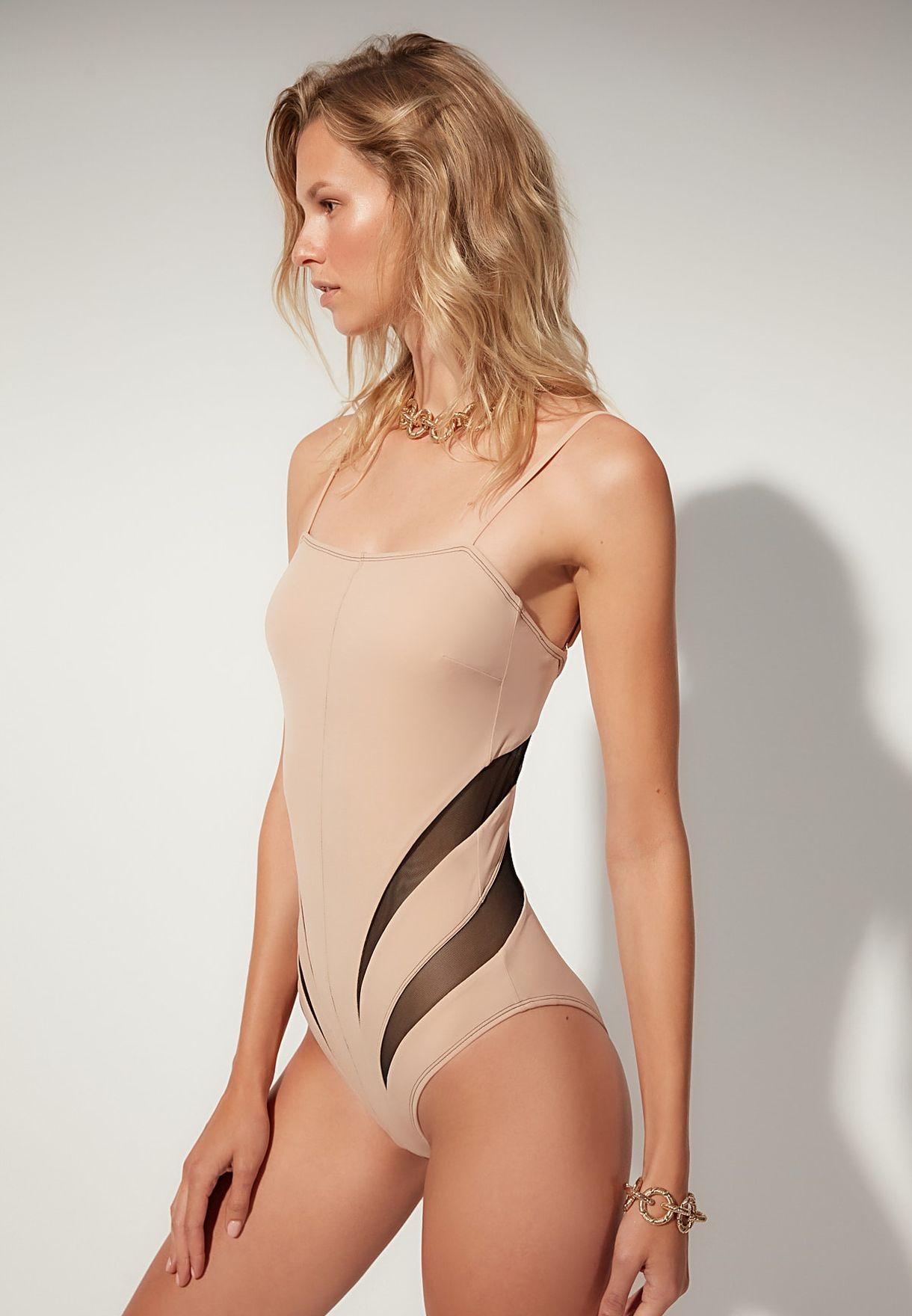 Printed High Leg Swimsuit