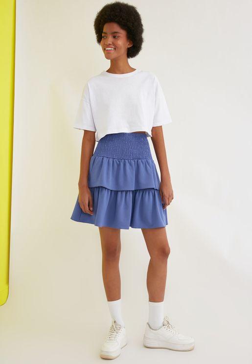 Ruffle Detail  Knit Skirt