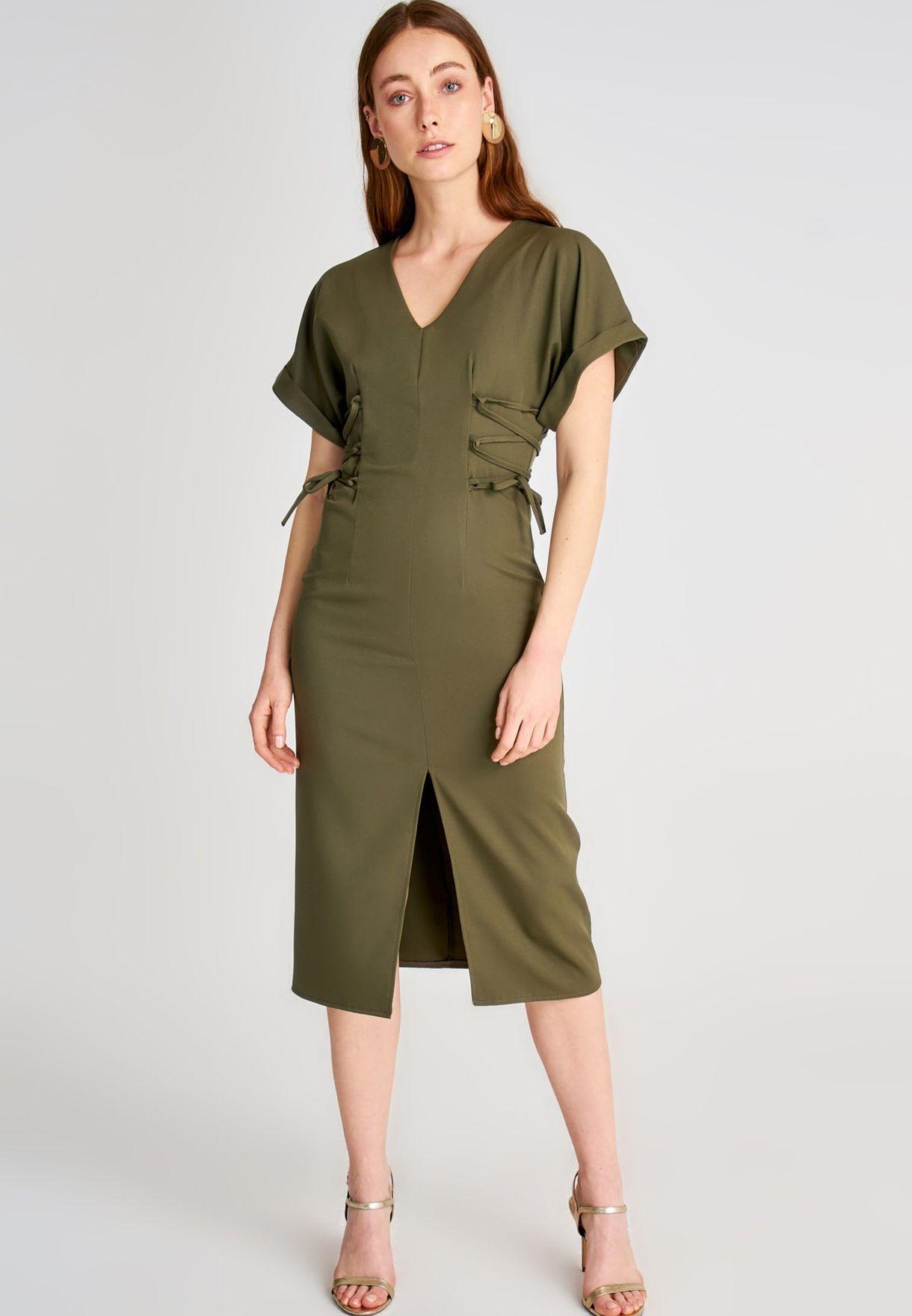 Trendyol Roll Sleeve Front Slit Dress - Women Clothing P4nP1