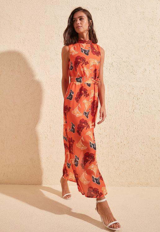 High Neck Floral Print Dress