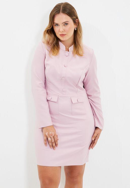 Pocket Button Detail Dress