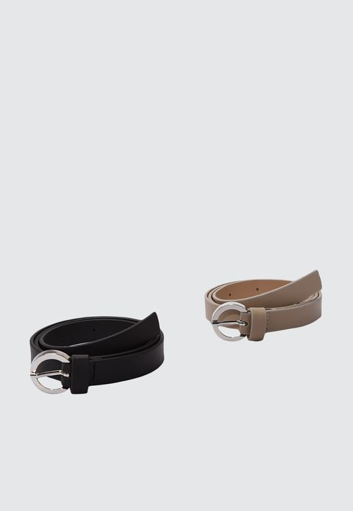 Leather Look 2 Pack Buckle Belt