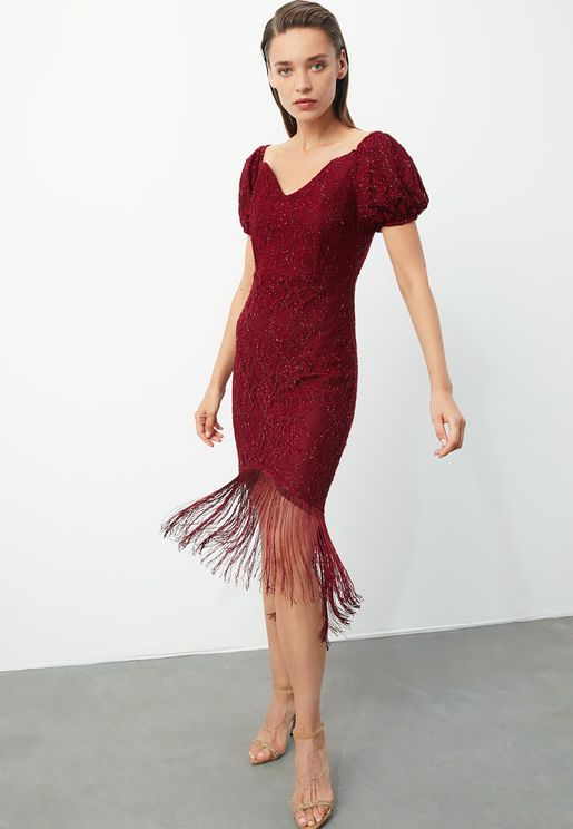 Fringe Hem Lace Dress