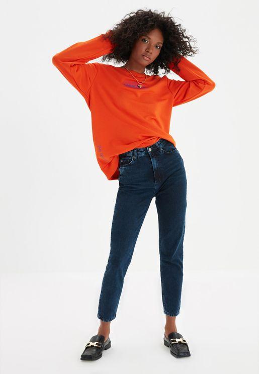 بنطال جينز بخصر عالي