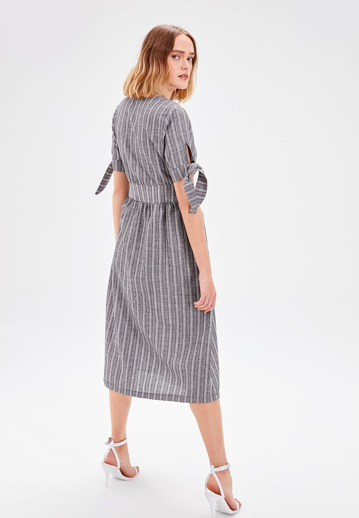 Tie Sleeve Button Down Striped Dress