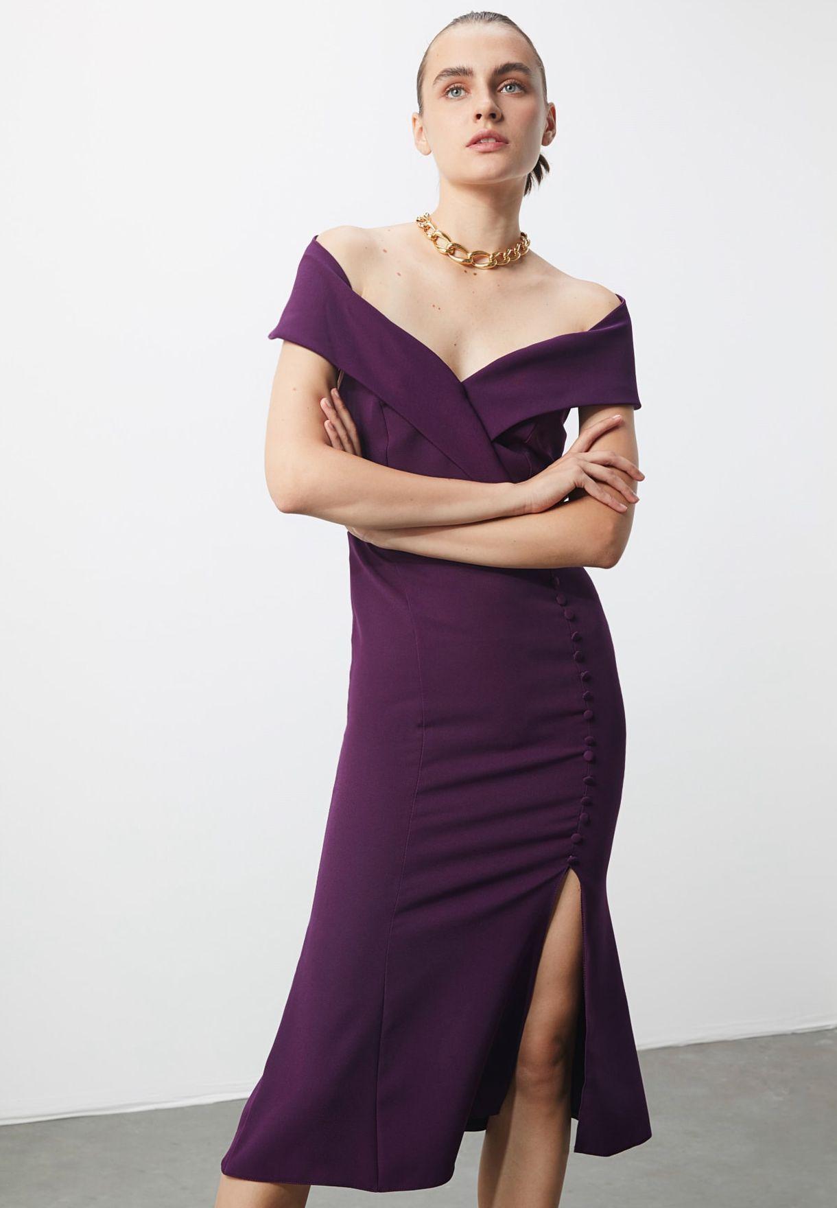 Side Split Bardot Dress
