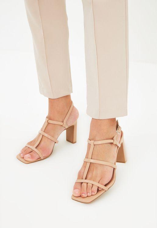 Beige Band Women'S Classic Heeled Shoes