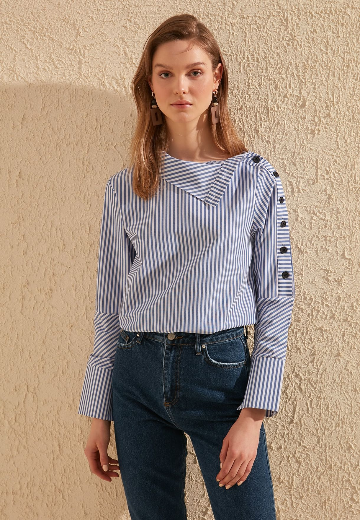 Striped Button Detail Shirt