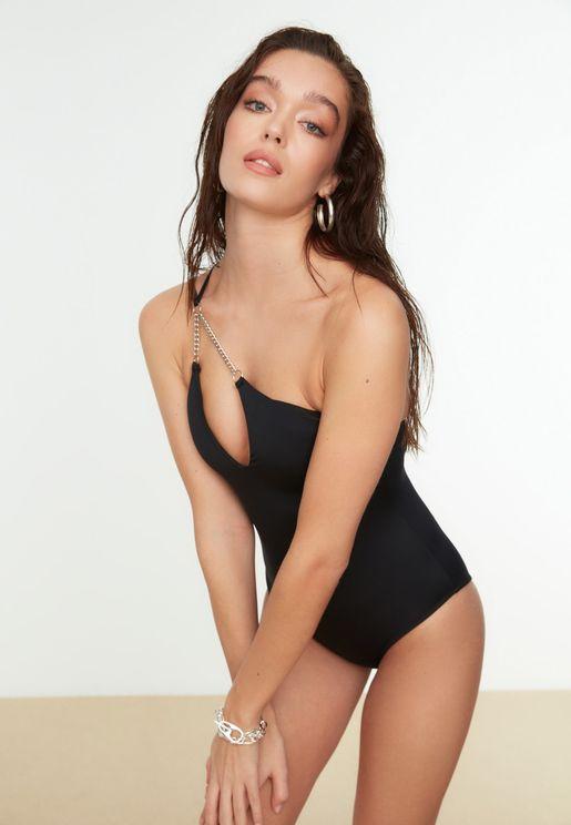 Embellished One Shoulder Swimsuit