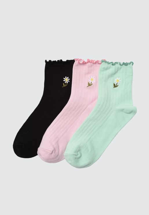 3 Black Knitted Socks