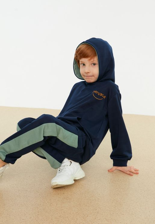 Kids Chest Embroidery Hoodie