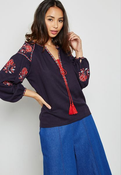 Embroided Detail Top