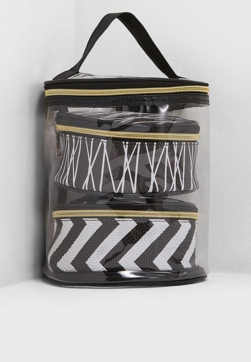 3 In 1 Chevron Tube Cosmetic Bag