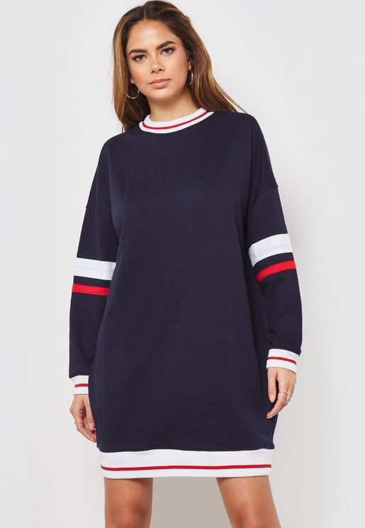 Striped Long Sleeve Crew Neck Mini Dress