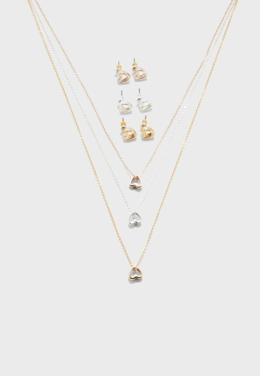 Heart Necklace + Earrings Set