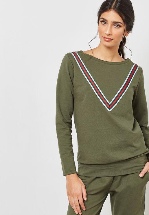 Contrast Paneled Sweatshirt