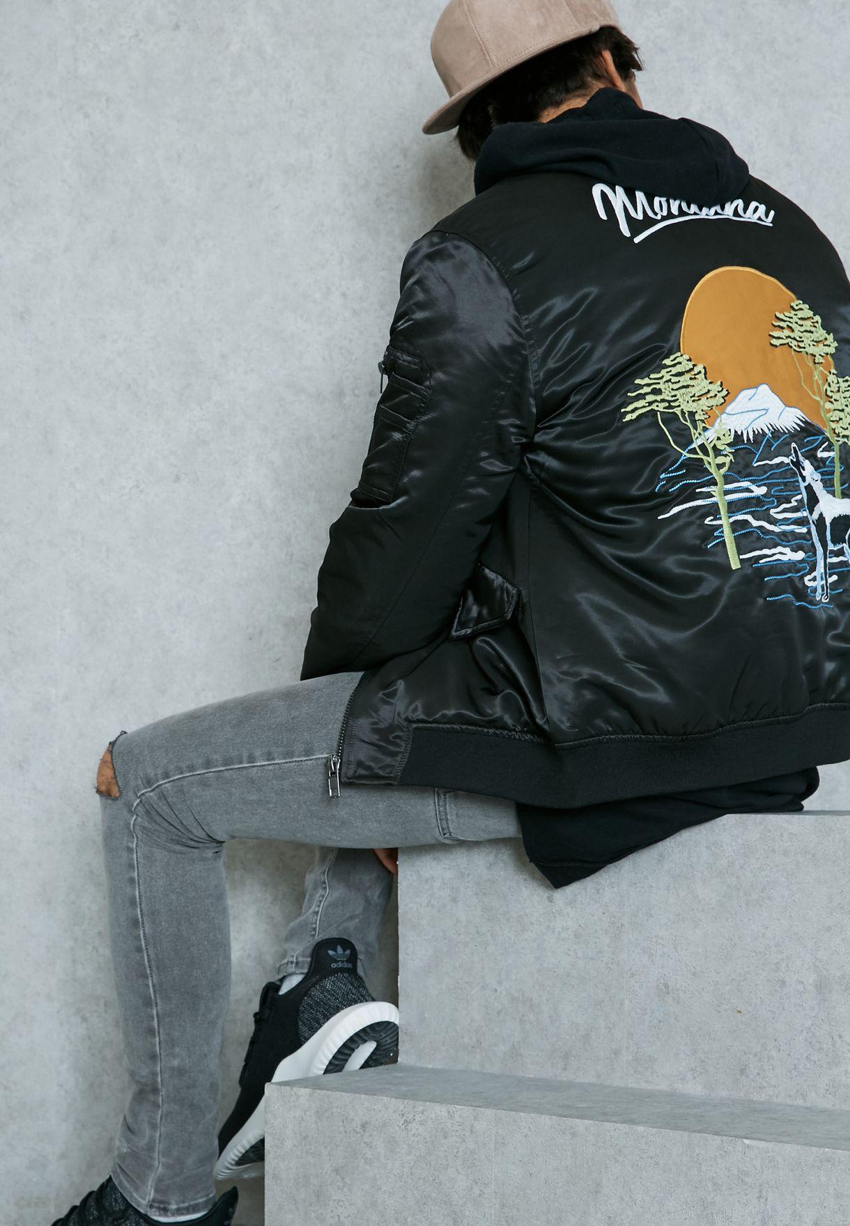4d7ec14560f Shop Topman black Wolf Embroidered Bomber Jacket 64K41LBLK for Men ...