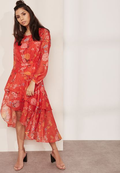 Asymmetric Printed Ruffle Dress