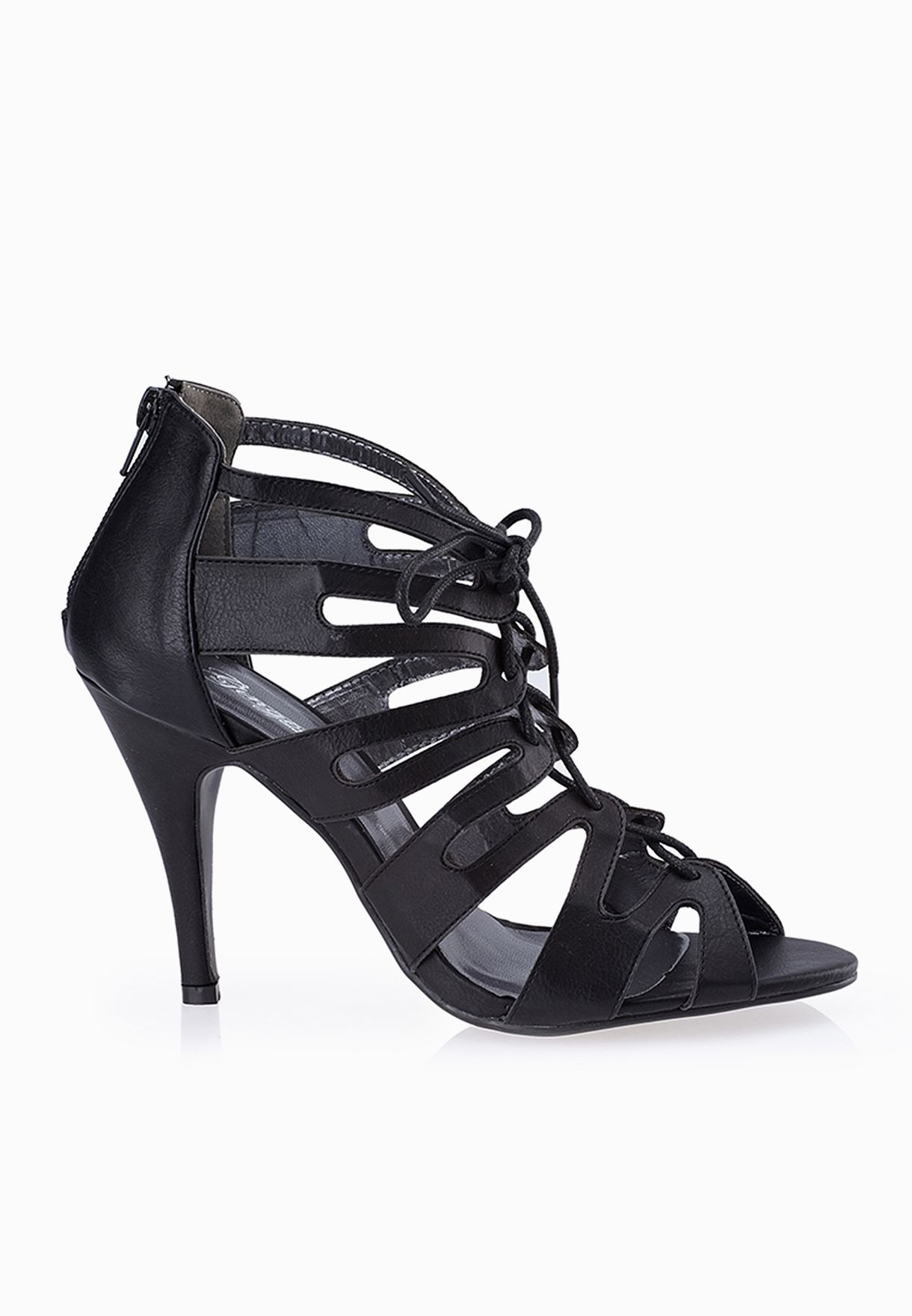 31a0cc39b37 Shop Ginger black Cage Lace Up Sandals for Women in UAE - GI121SH90RGF