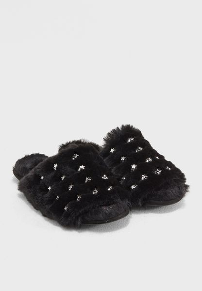Star Studded Fur Lined Sliders