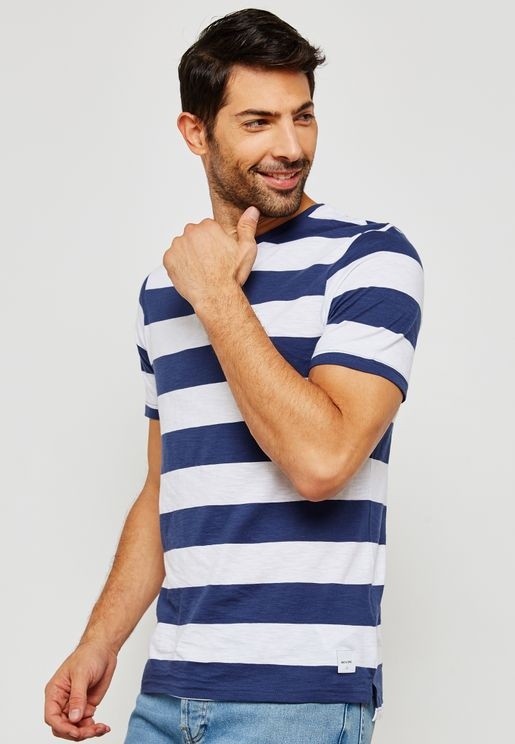 Dontell Striped  Crew Neck T-Shirt