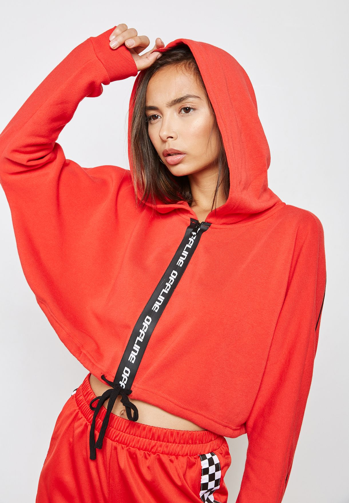 6a89bb10747ae9 Shop Forever 21 red Graphic Cropped Hoodie 193404 for Women in UAE ...